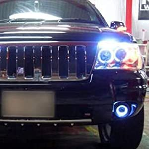 3-Inch Projector Fog Light Lamps w/ 40-SMD Xenon White LED Halo Angel Eyes Rings