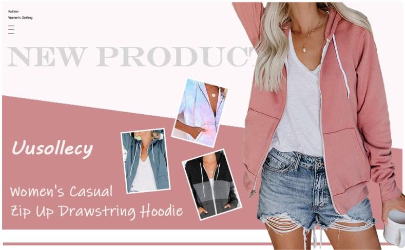 women casual zip up hoodie