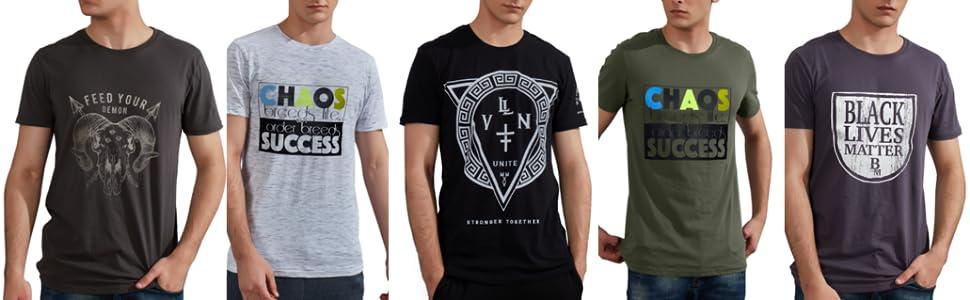 Gochange Mens T-Shirts Graphic Tees Cotton Short Sleeve
