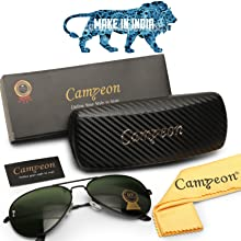 campeon black frame green color glass lens uv400 protection unisex aviator sunglasses for men women