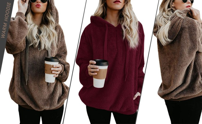 Womens Oversized Sherpa Pullover Hoodie