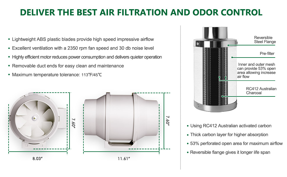 """4"""" Inline Duct Fan 4"""" Carbon filter ventilation kit for grow tent inline fan and carbon filter combo"""