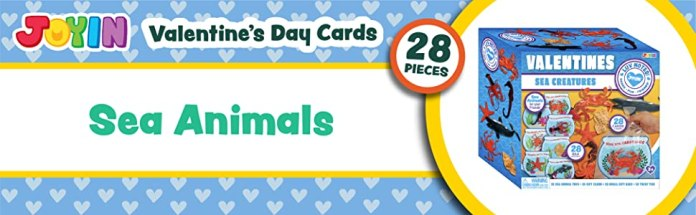 JOYIN 28 Pcs Valentines Day Gift Cards with Funny Sea Animal Toys