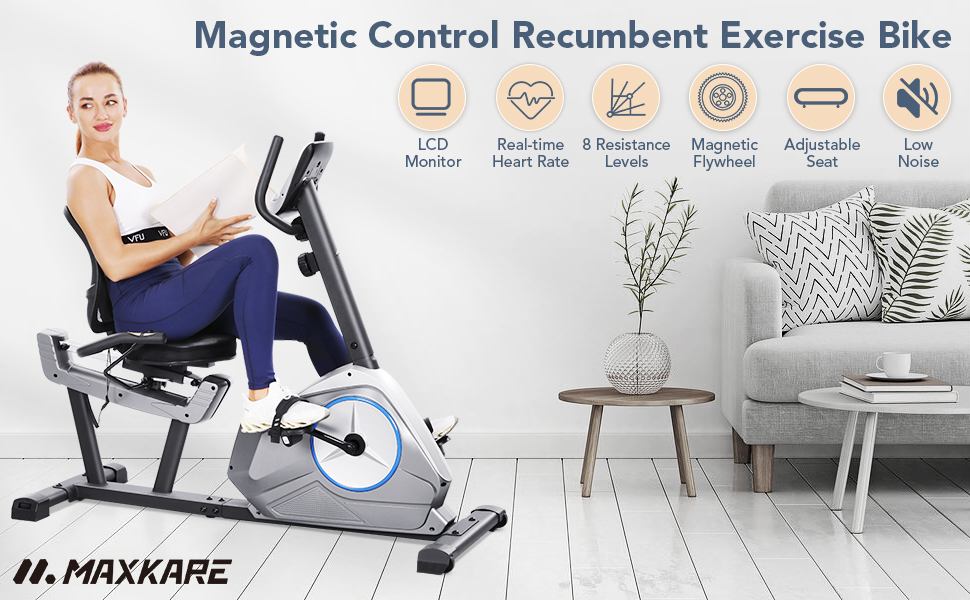 MaxKare magnetic control recumbent exercise bike