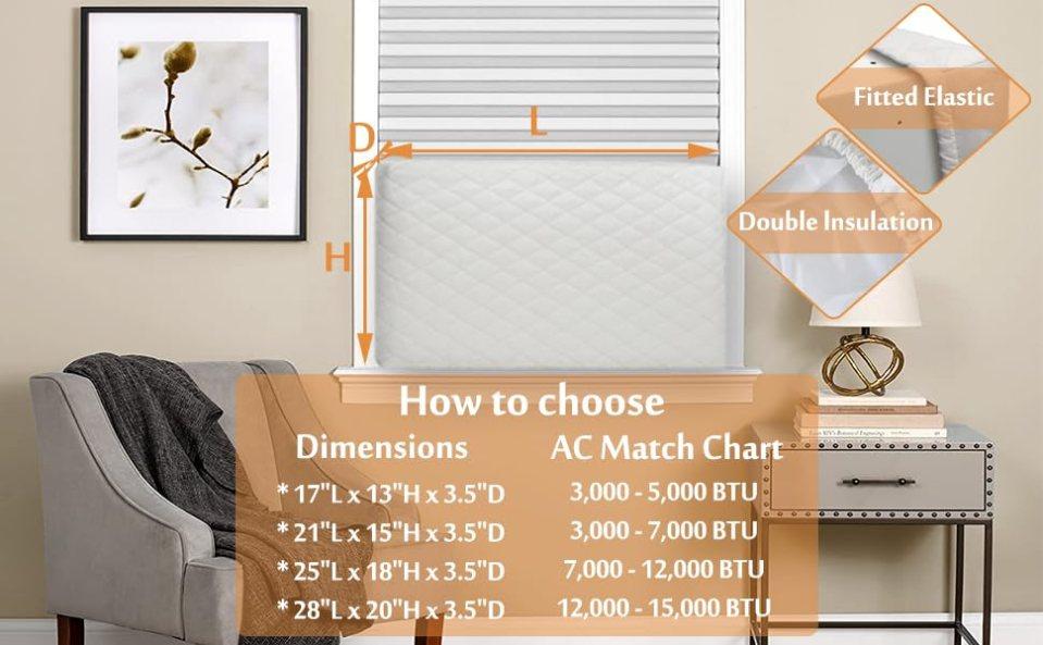 Foozet Durable Indoor Window Air Conditioner Cover