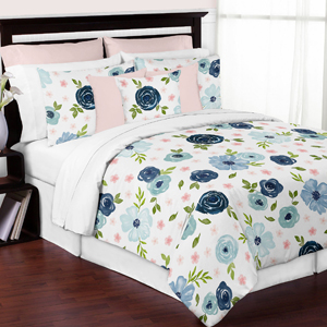 Navy Blue and Pink Watercolor Floral Girl Full / Queen Size Kid Childrens Bedding