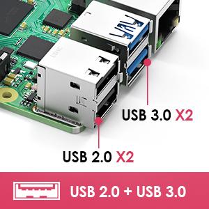 2 USB 2.0 et 2 USB 3.0