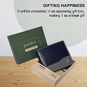 portlee leather blue grey wallet men purse card holder slim debit credit  money clip pocket rfid