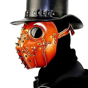 Orange PU Leather Plague Doctor Mask