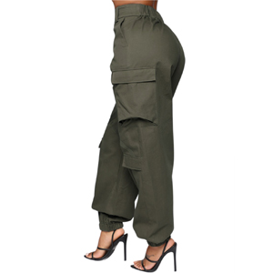 Buttons, High Waist, Elastic Waist and Bottom, with Pockets, Loose Fit, Ankle Length.
