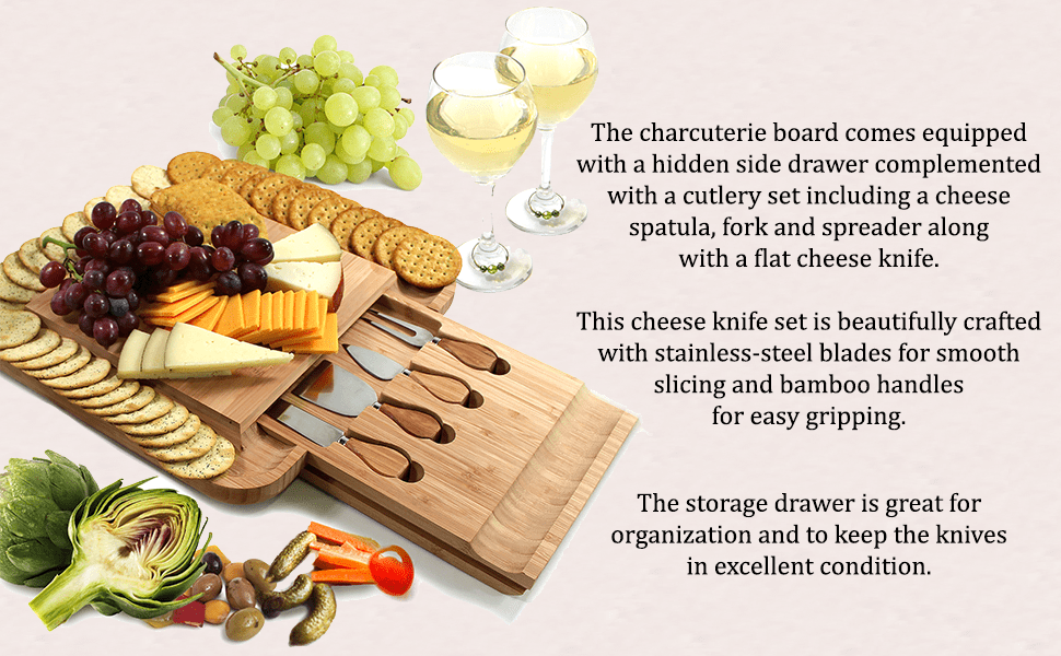 kcharcuterie board, cheese board knife set,charcuterie platter,cheese tray,entertaining serving sets