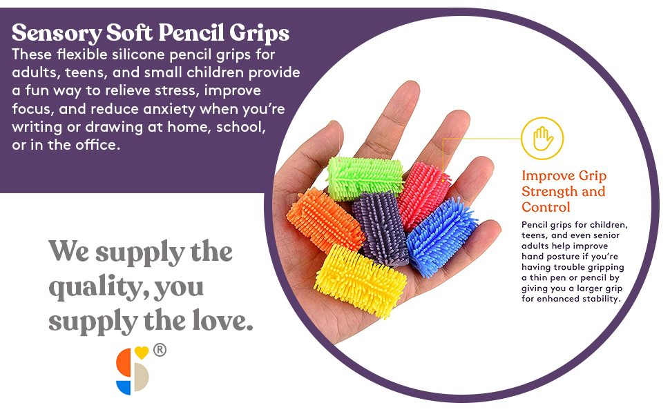 Squishy Pencil Grips for Home, School or Office use
