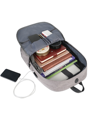 backpack designed an USB Charging Port  convenient to keep you hands free when you walking runing