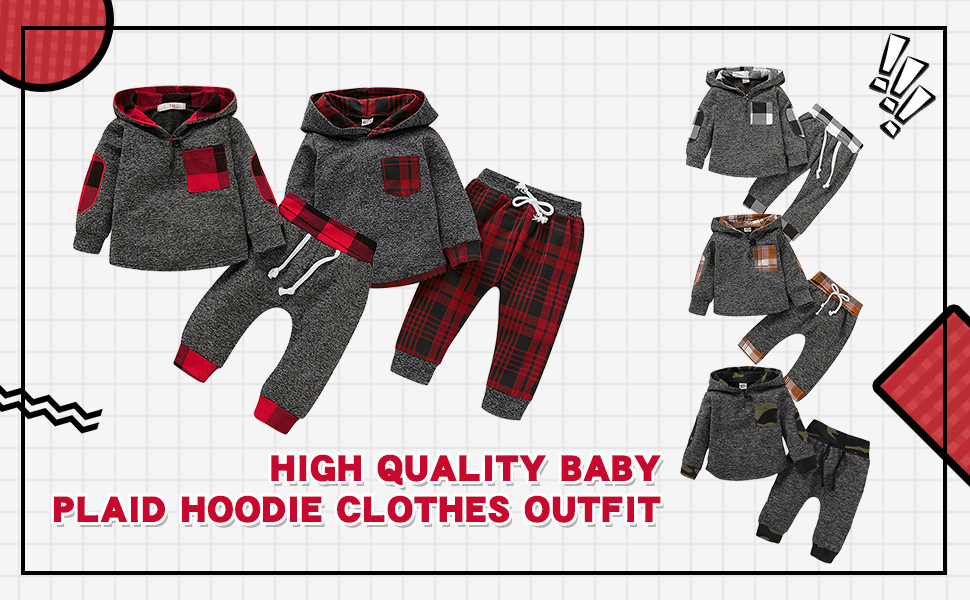 HIGH QUALITY BABY PLAID HOODIE CLOTHES OUTFIT