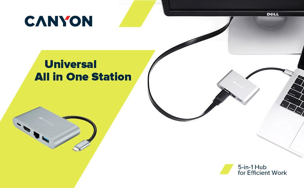 5-In-1 USB C hub docking station mehrfach port verteiler lade anschlüsse dongle multiport adapter