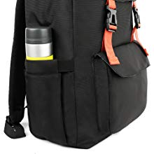 The fashion unisex backpack's main compartment is with zipped closure,water-bottle pockets on both