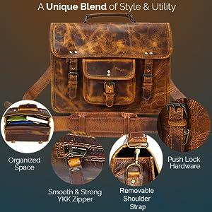 handcrafted Leather satchel messenger Laptop Bag Handle Briefcase Carry on travel shoulder bag
