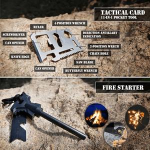 Saber card and fire starter
