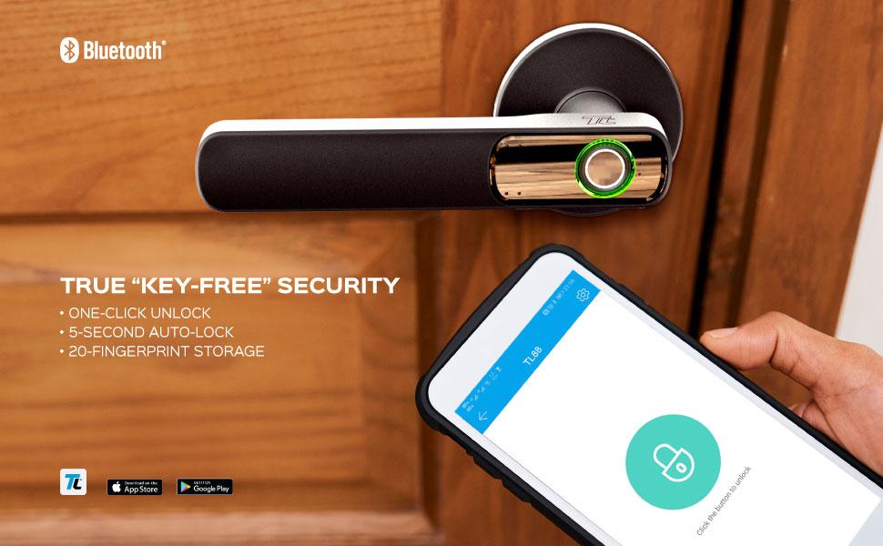 "TRUE ""KEY-FREE"" SECURITY ONE-CLICK UNLOCK 5-SECOND AUTO-LOCK 20-FINGERPRINT STORAGE"