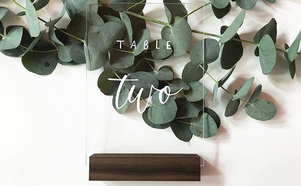 table number wood stand acrylic sign