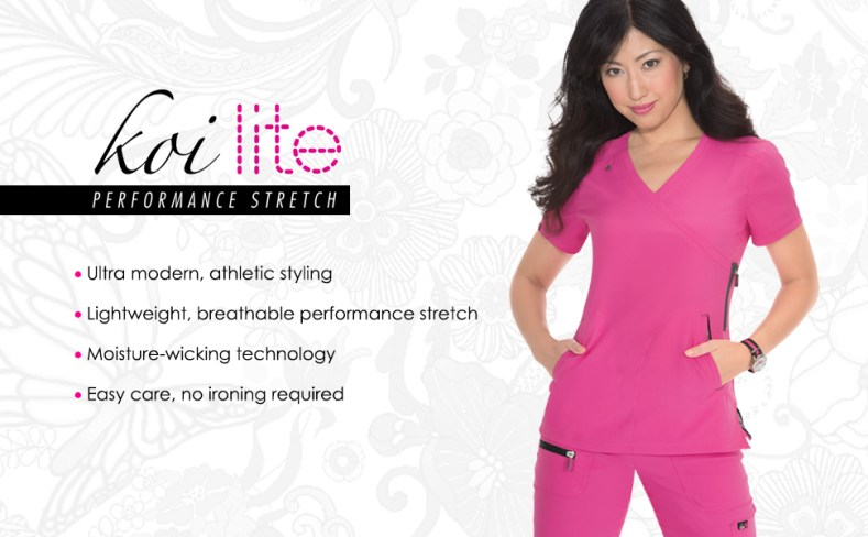 banner image with koi lite performance stretch logo and model wearing koi lite scrubs