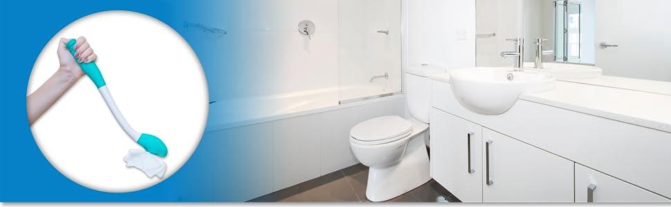 Comfort wipe toilet aid assist in bathroom