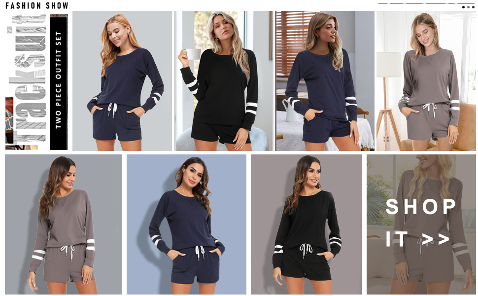 Women's  Casual 2 Piece Outfit long sleeve Sweatsuit Set  Pullover Tops and Shorts Tracksuit set