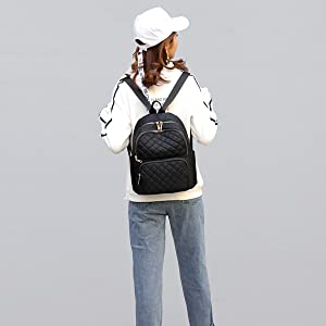Black Backpack School Backpack Lightweight Women Travel Backpack Hold 14'' Laptop for Girls
