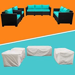 Rattaner Patio Sectional Furniture Sofa Set 4 Pieces, Waterproof, Rust Resistant Furniture Cover