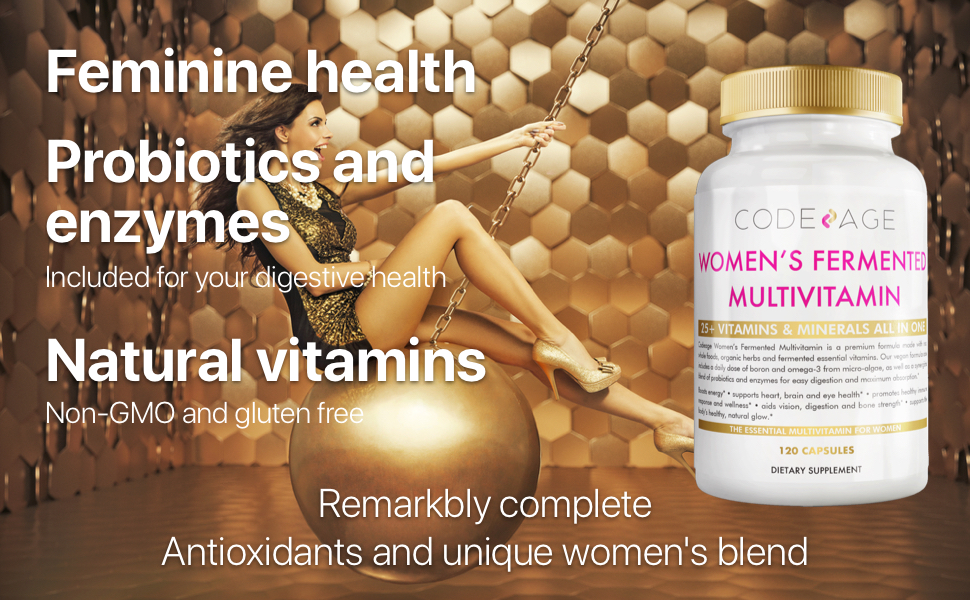 Codeage - Women's Fermented Multivitamin - Probiotics and enzymes