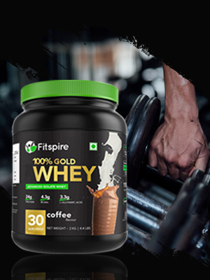 Fitspire 100% Whey Protein Gold with Shaker , No Added Sugar, Low Carbs, Zero Cholesterol