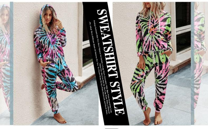 Tie Dye Two Piece Pajamas Set Long Sleeve Sweatshirt with Long Pants