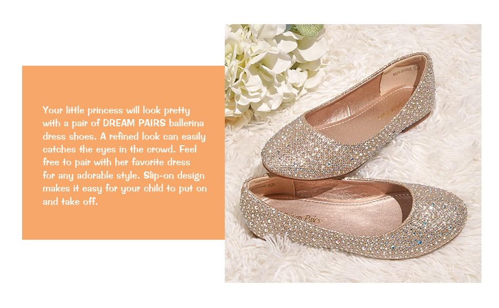 flower girls dress shoes slip on flats glitter Ballerina Mary Jane
