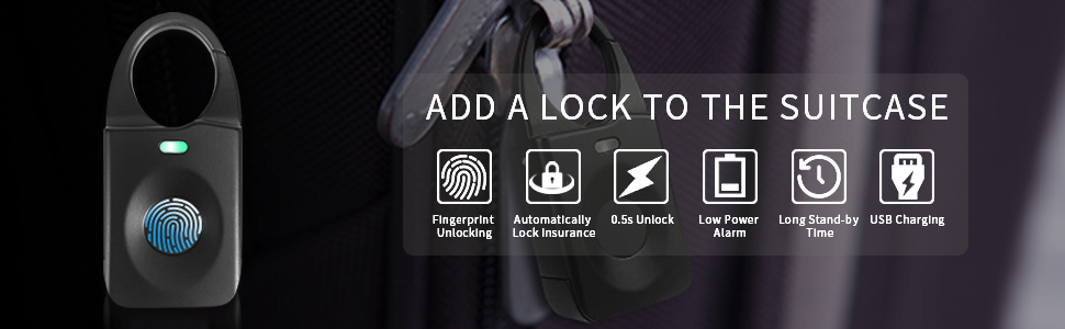 Fingerprint Padlock, Smart Keyless Security Locker Lock Fingerprint Lock Gym Lock