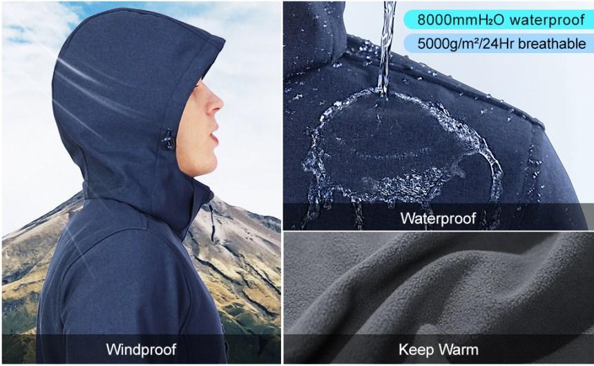 waterproof windproof jacket fleece lined