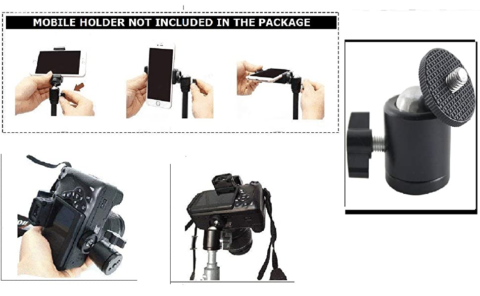 MOBILE TRIPOD STAND TILT PAN ROTATE BALL HEAD MOUNT CLIP BRACKET UP DOWN OPTION THREAD MOVIE RECORD