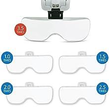 Fancii Occhiali Ingrandimento con Luce LED, 1X a 3,5X con 5 Lenti Estraibili