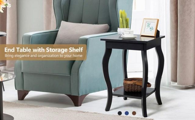 "End Table 16"" W/Storage & Shelf Curved Legs"