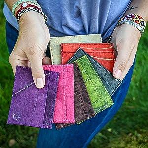 multiple color leaf leather wallets