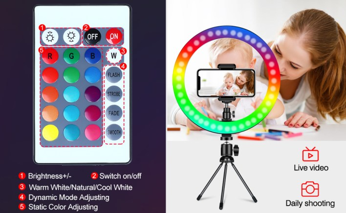 bluetooth remote rgb ring light with tripod stand all devices photo video shoot all devices connect