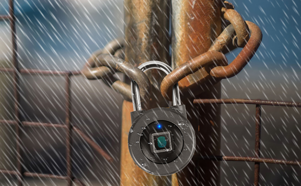 Smart Padlock,Fingerprint Padlock,Bluetooth Connection Metal IP65 Waterproof Suitable