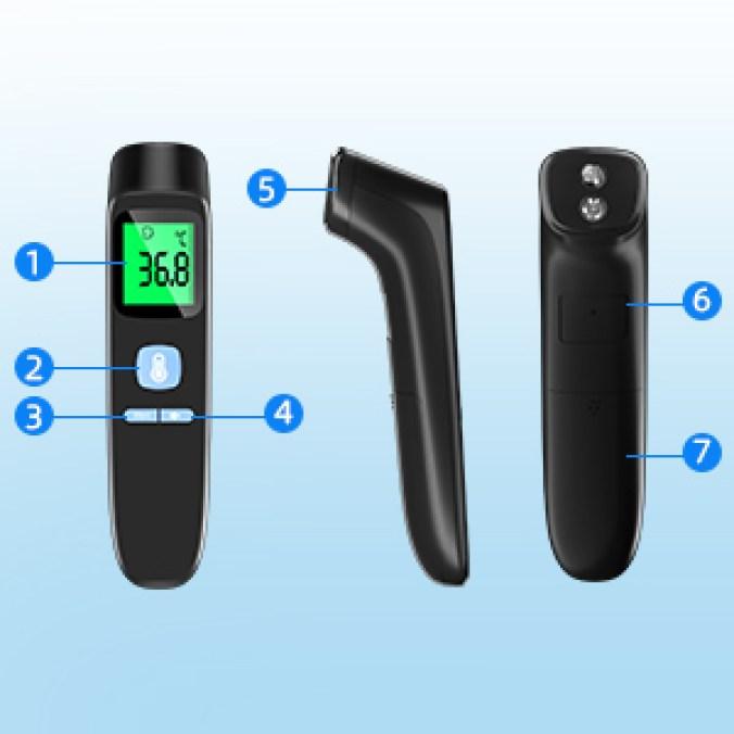 Fieberthermometer Infrarot Kontaktlos Stirnthermometer mit LCD-Bildschirm, Fieberalarm