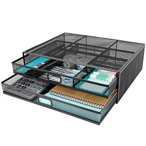 Wellerly Monitor Stand Riser with Drawer Desk Organizer Desktop Storage Office School Home Black