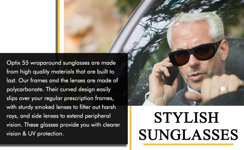 Stylish wraparound sunglasses provide you with clear vision