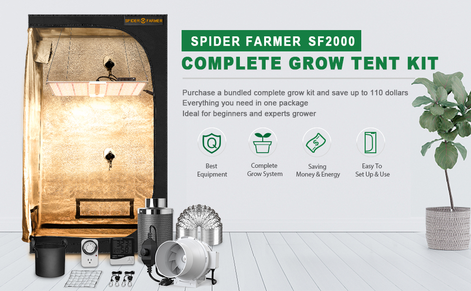 Spider Farmer Complete SF2000 Dimmable LED Grow Light 2x3 Grow Tent Kit Full Package Setup system