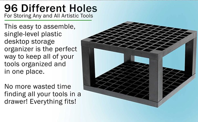 U.S. Art Supply 96-Hole, Multi-level Organizer Rack