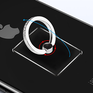Diamond Transparent Cell Phone Ring Holder Stand with Car Mount Hook for iPhone Galaxy