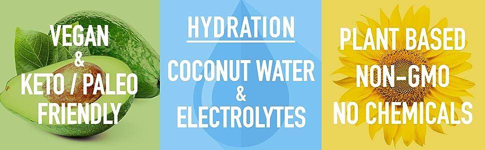 Vegan, Keto, Paleo Friendly, Hydration, Electrolytes, Plant Based, Non GMO, Natural