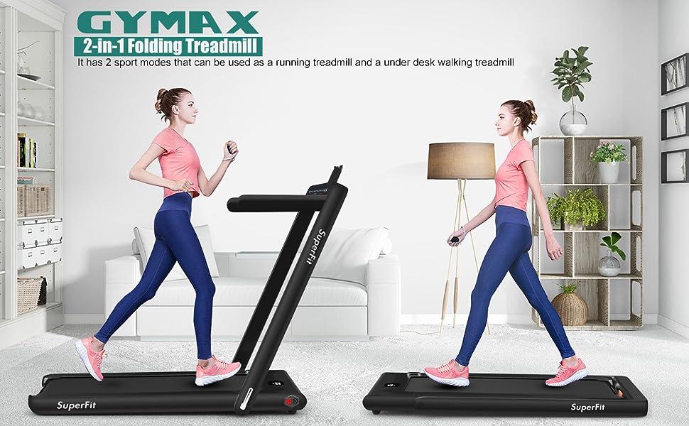 2 in 1 folding  treadmill