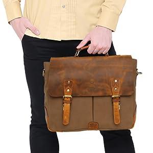 handmade Men's Messenger Bag Vintage Canvas Leather Satchel Laptop Bags Bookbag Working travel Bag